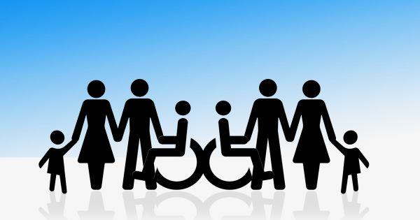 inclusieve groep rolstoel, kind, ouder